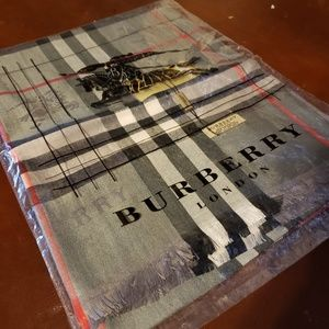 Burberry London Lightweight EMB Cashmere Scarf